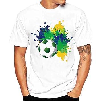 Qiusa Camisas para hombres, camiseta de fútbol con estampado de fútbol de moda Camiseta ajustada