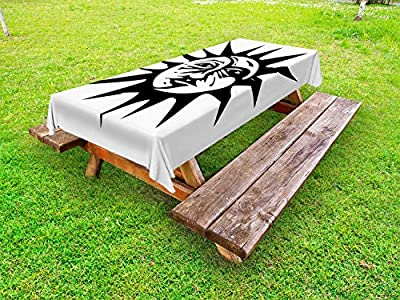 Ambesonne Sun and Moon Outdoor Tablecloth, Monochromatic Composition of Woodcut Style Image Along a Face, Decorative Washable Picnic Table Cloth, Charcoal Grey and White