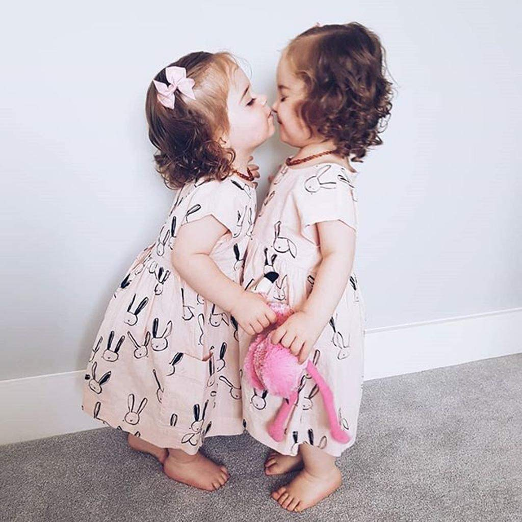 NUWFOR Toddler Baby Kid Girl Summer Rabbit Print Pocket Princess Dresses Casual Clothes(Beige,18-24 Months) by NUWFOR (Image #2)
