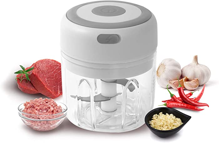 Wireless Electric Mini Food Garlic Chopper 250ML, Kuopry Kitchen Food Chopper and Blender USB Charging Fits for Cutter Vegetables/Meat Grinder/Garlic Chooper/Fruits Masher/Fruit Salad Grinder-White