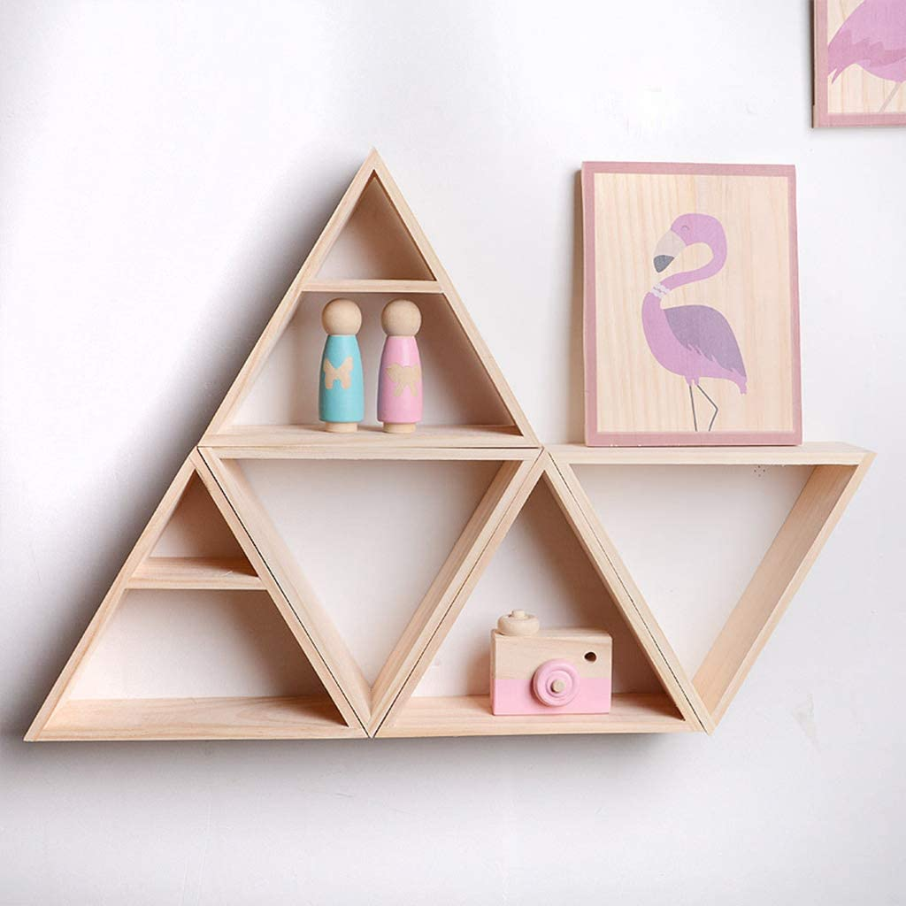 KINTRADE Rustic Style Storage Rack Wooden Handmade DIY Triangle Commodity Shelf Storage Rack Decoration
