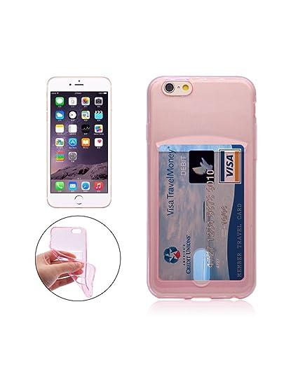 Funda iPhone SE / 5 / 5S de Apple con Tarjetero Carcasa para Tarjetas (Silicona Gel Transparente Rosa), Funda de TPU de Alta Resistencia y ...