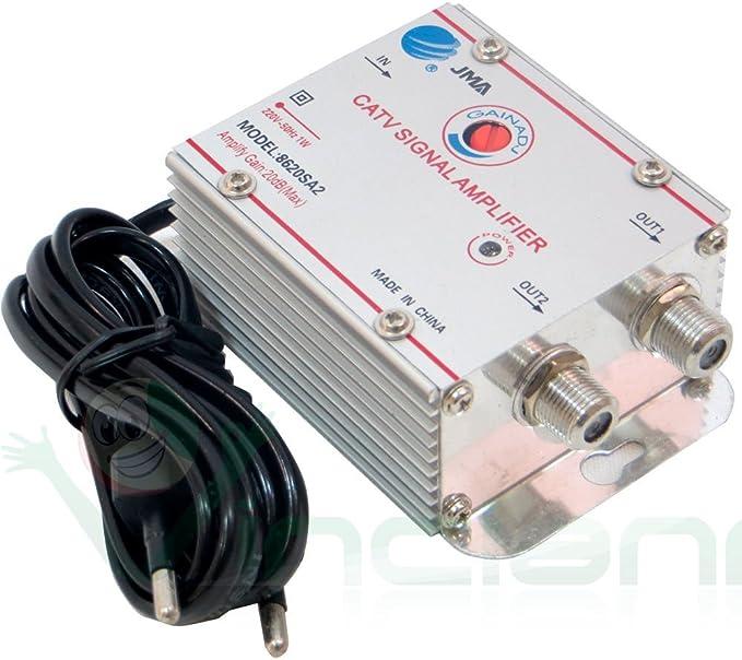 Amplificador de señal de antena para TV digital terrestre y por cable, 2 salidas, +20dB