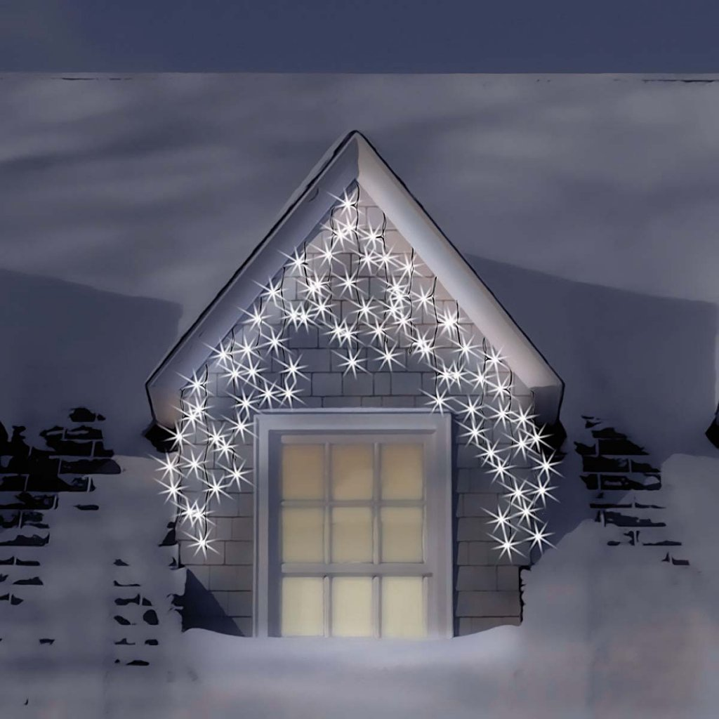 Snowtime 240 Electric Blue & Ice White LED Icicle Lights #CL02946 ...