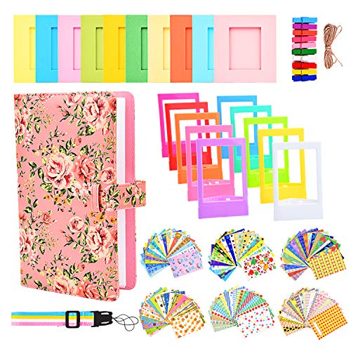 Sunmns Accessories Bundle Kit Set for Fujifilm Instax Mini 9 8 90 70 Films, Accessory Include Album, Film Stickers, Desk Frames, Hanging Frame, Strap (Pink Floral)