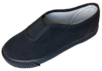 be9f2d0176ba School Pe Plimsolls Black Gym Class Shoes Gusset Pumps Junior 1 Black  Junior 1