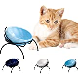 Jemirry Elevated Cat Bowl Ceramic Raised Cat Bowl with Stand Tilt Angle for Kitten and Small Dog Puppy Feeder Neck Protection