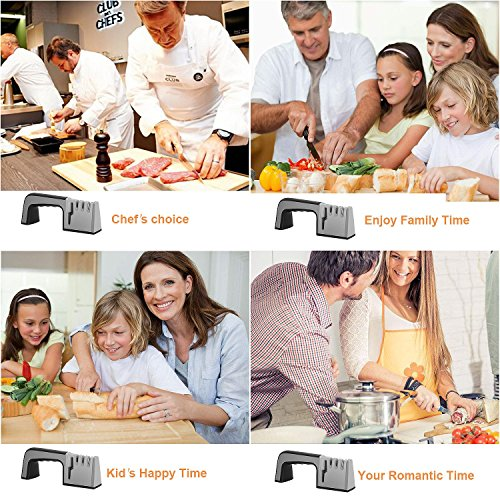 Knife Sharpener,4 in 1 Knife & Scissor Sharpener, 4-Stage Kitchen Knife Sharpener Tool, Sharpens Dull Knives Quickly,Suit for Various Knives,Best Choice for Chef & Family by Fujiway (Image #6)