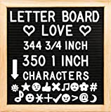 10'' x 10'' Felt Letter Board with Solid Oak Wood Frame, 694 Letters + Special Characters & Emojis, Two Canvas Letter Bags, and Plastic Stand. (Black Felt)