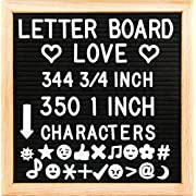 10  x 10  Felt Letter Board with Solid Oak Wood Frame, 694 Letters + Special Characters & Emojis, Two Canvas Letter Bags, and Plastic Stand. (Black Felt)
