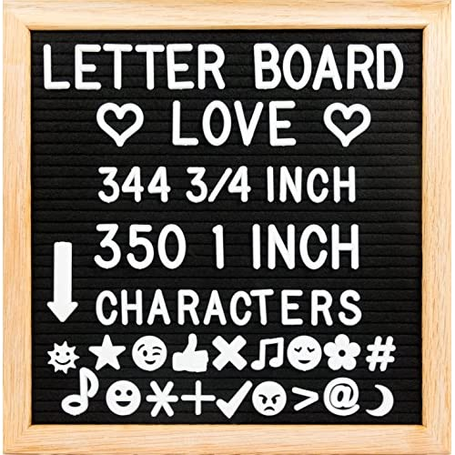 "Nice 10"" x 10"" Felt Letter Board with Solid Oak Wood Frame, 694 Letters + Special Characters & Emojis, Two Canvas Letter Bags, and Plastic Stand. (Black Felt) hot sale"