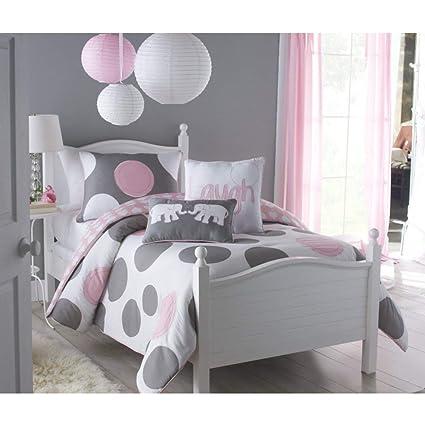 Amazoncom 2 Piece Girls Light Pink Grey White Polka Dot Theme