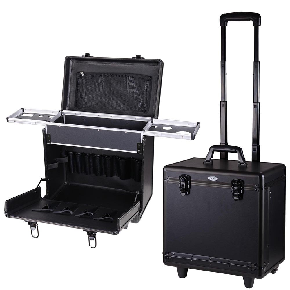 AW Black Hair Makeup Train Case PVC Baber Hair Salon Clipper Trimmer Tool Appliance 15x9x14 Box