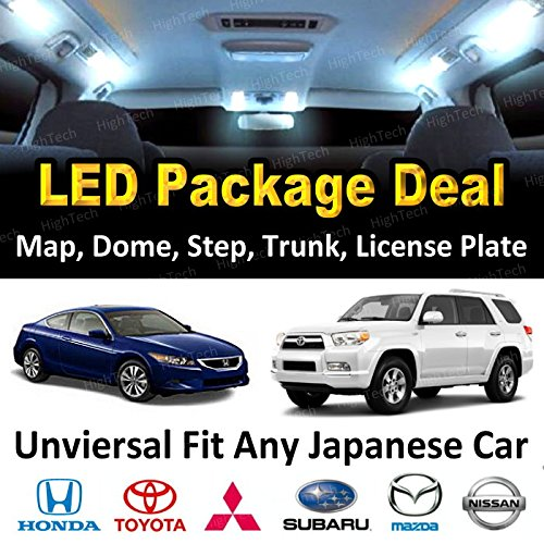 HighTechAutoAccessory – LED Interior Package Deal Kit for 2007 – 2015 Any Japanese Car (Acura, Honda, Infiniti, Lexus, Mazda, Mitsubishi, Nissan, Scion, Subaru, Toyota, etc.), WHITE