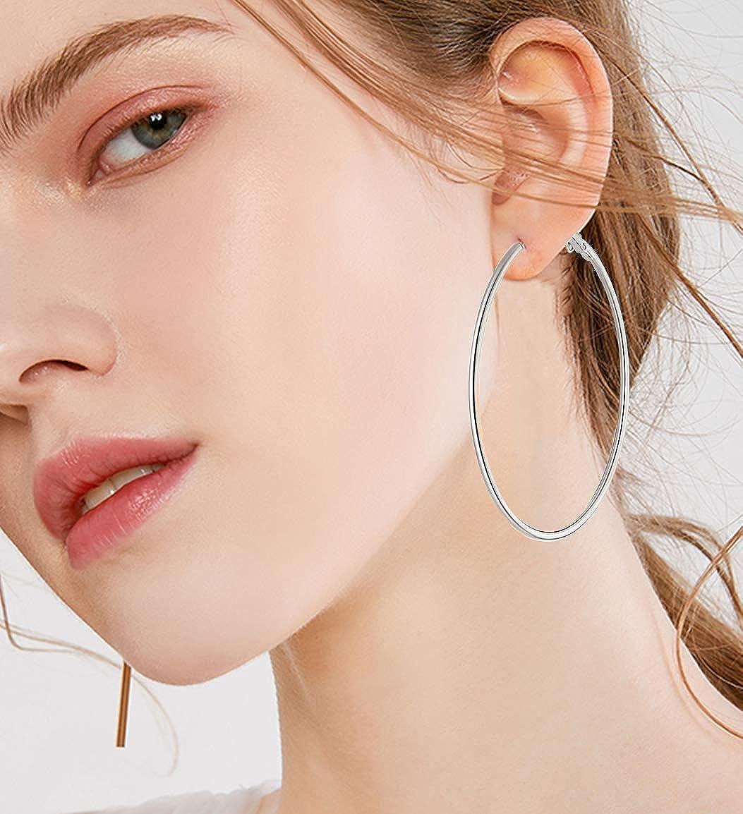 6 Pairs Big Hoop Earrings Set Silver Stainless Steel Hoop Earrings for Women Girls Sensitive Ears