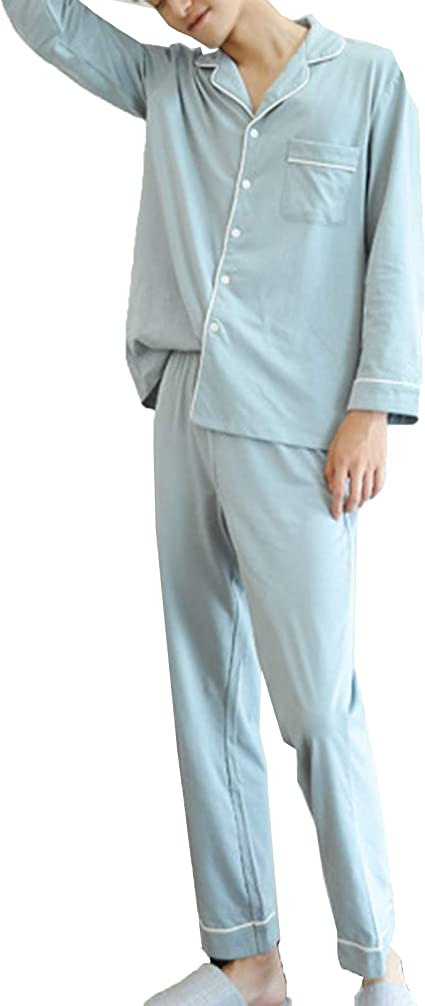 ZJML Conjunto De Pijamas para Hombre, Camisón Abotonado De ...