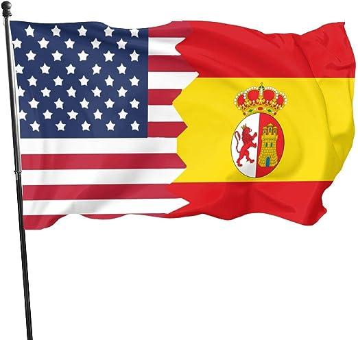 not applicable Bandera de España Bandera de EE. UU. Banderas de 3 X 5 - Adecuadas para Interiores o Exteriores Bandera de jardín Bandera de Polietileno: Amazon.es: Jardín