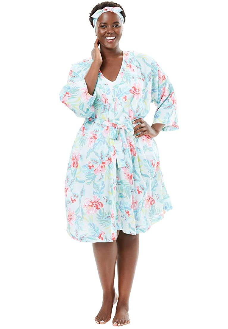 Dreams & Co. Women's Plus Size Kimono Robe and Headband Set