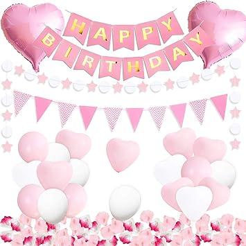 Kreatwow Decoraciones de la Fiesta de cumpleaños Rosa para ...