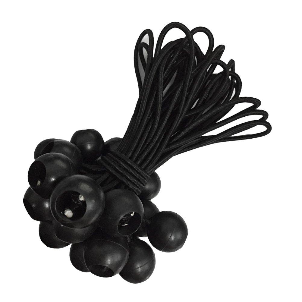 VORCOOL 10 Stü ck Expanderschlingen Planenspanner Spanngummis mit Kugel Gummischlaufen Planen Spanngummi Ball Bungee fü r Zelte und Plane 15 cm (schwarz)