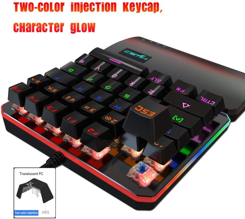 Single-Handed Gaming Mechanical Keyboard Wired 35Keys Mixed LED Backlit USB Multimedia One-Hand Gamer Keyboard with Wrist Rest for PC Laptop Computer