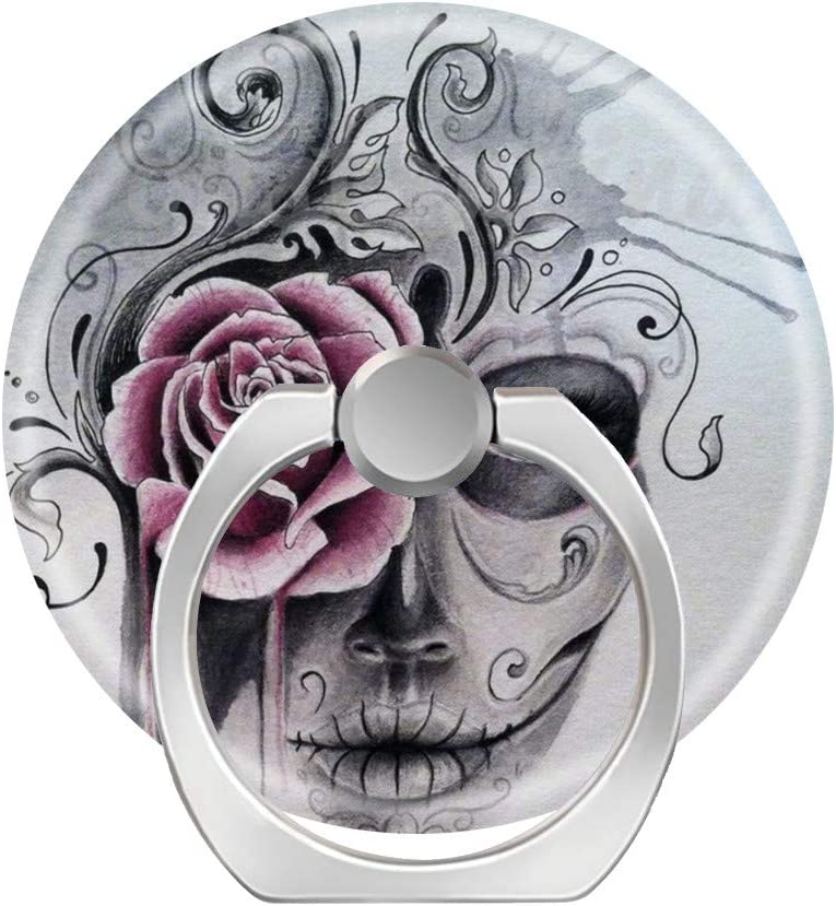 iPad and Tablet-Watercolor Sugar Skull Girl Tattoo Expanding Grip Socket for Cellphones,Rotation Pop Grip Holder for Phones Universal Phone Grip Holder