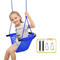 Donghoodshop Kids Swing Seat Heavy Duty Rope Play Secure Children Swing Set for Indoor/Outdoor/Playground/Home/Tree with Snap Hooks and Swing Straps|Suit for 2 to 12 Years|440 lbs Capacity (Blue)
