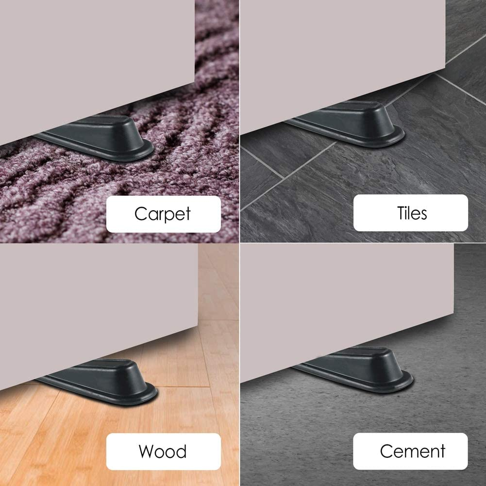 5 Packs Rubber Doorstop Wedge Suitable for All Floors Non-Scratching and Anti-Slip Design