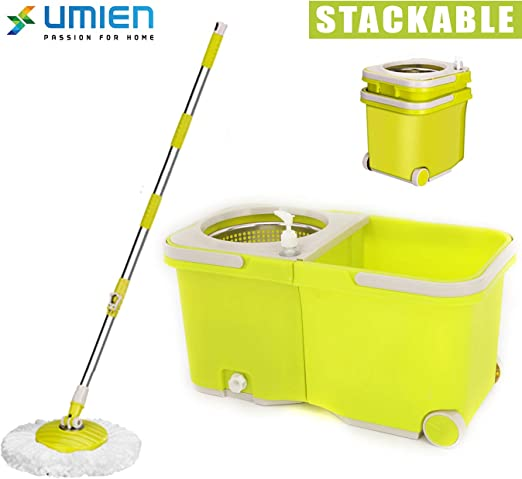 UMIEN Spin Mop and Bucket Sytem – 360° Self Wringing Spinning Mop ...