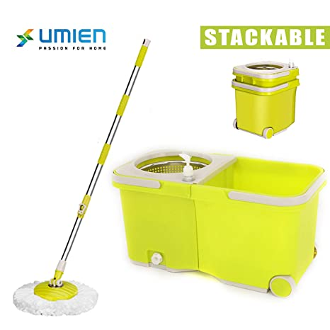 Umien Spin Mop and Bucket System – 360° Self Wringing Spinning Mop with  Stackable Bucket On Wheels and 2 Machine Washable Microfiber Mop Heads –  Easy