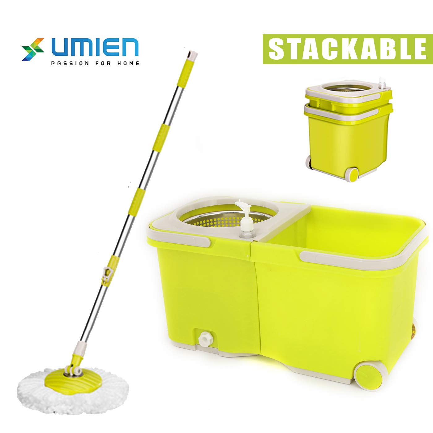 Umien Spin Mop and Bucket System - 360° Self Wringing Spinning Mop with Stackable Bucket On Wheels and 2 Machine Washable Microfiber Mop Heads - Easy to use and Store