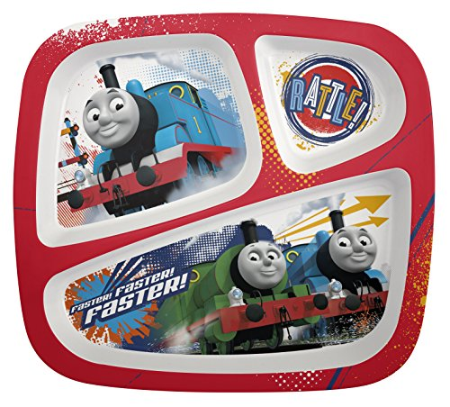 Thomas Food - Zak! Designs 3-Section Plate featuring Thomas & Friends, Break-resistant and BPA-free Plastic