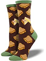 """Socksmith Womens' Novelty Crew Socks """"Grilled Cheese"""" - 1 pair"""