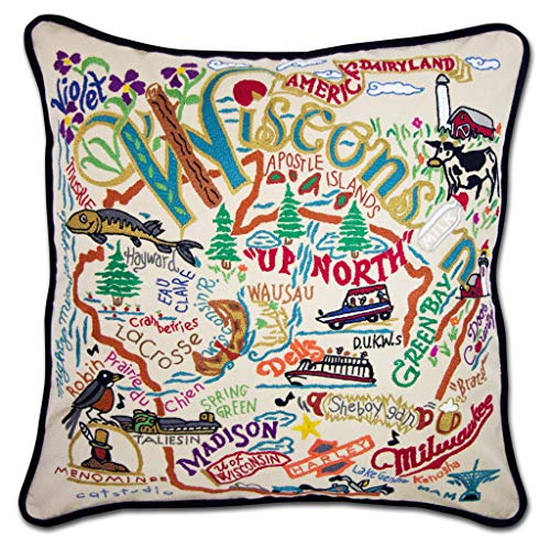 Catstudio | Wisconsin Throw Pillow | Hand-Embroidered | 20