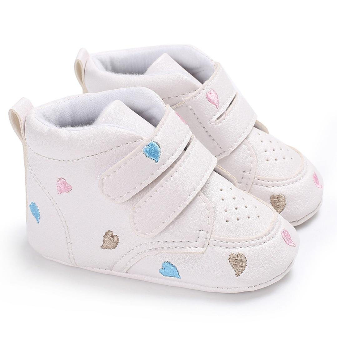 Kanzer Baby Shoes Girl Boys Heart-Shaped Embroidery Anti-Slip Soft Sole Toddler Sneaker