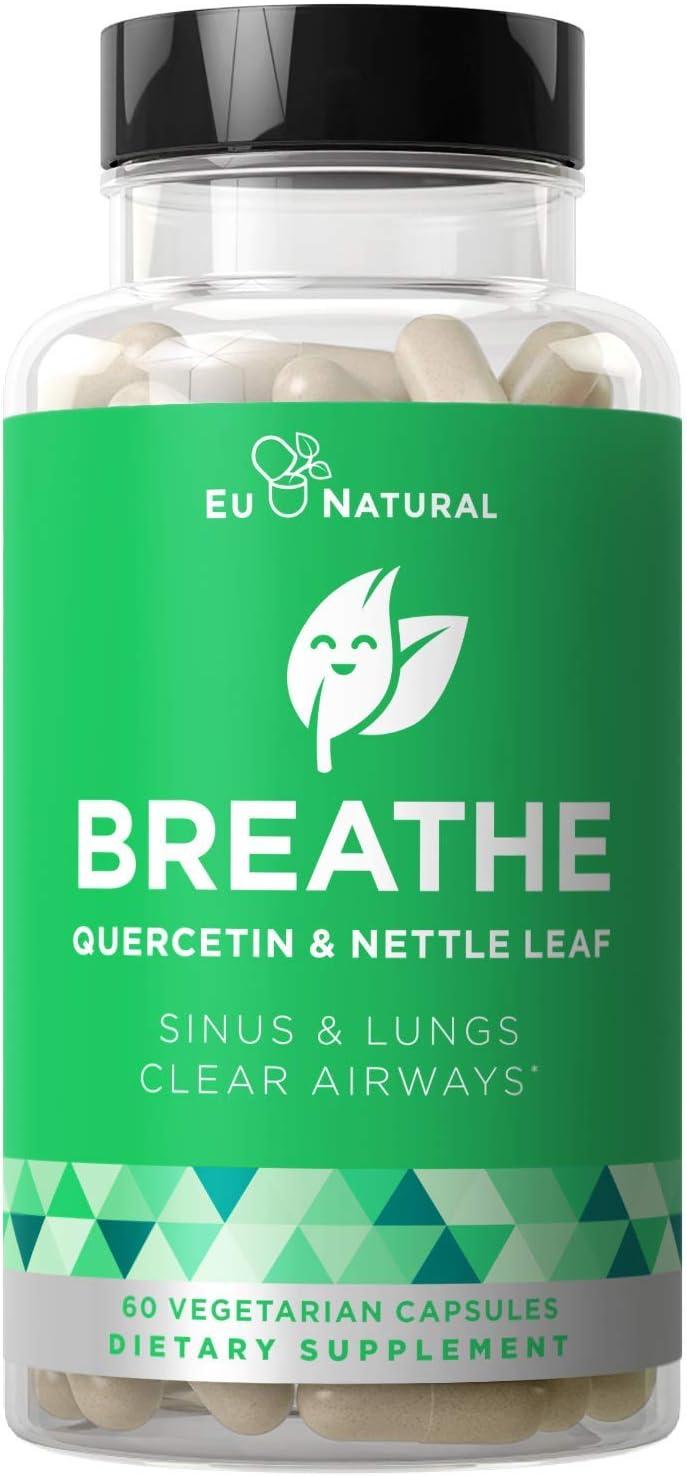 BREATHE Sinus & Lungs Breathing – Seasonal Nasal Health, Immune Support, Open & Clear Airways, Bronchial Wellness, Healthy Chest – Quercetin, Nettle Leaf, Bromelain Pills – 60 Vegetarian Soft Capsules: Health & Personal Care