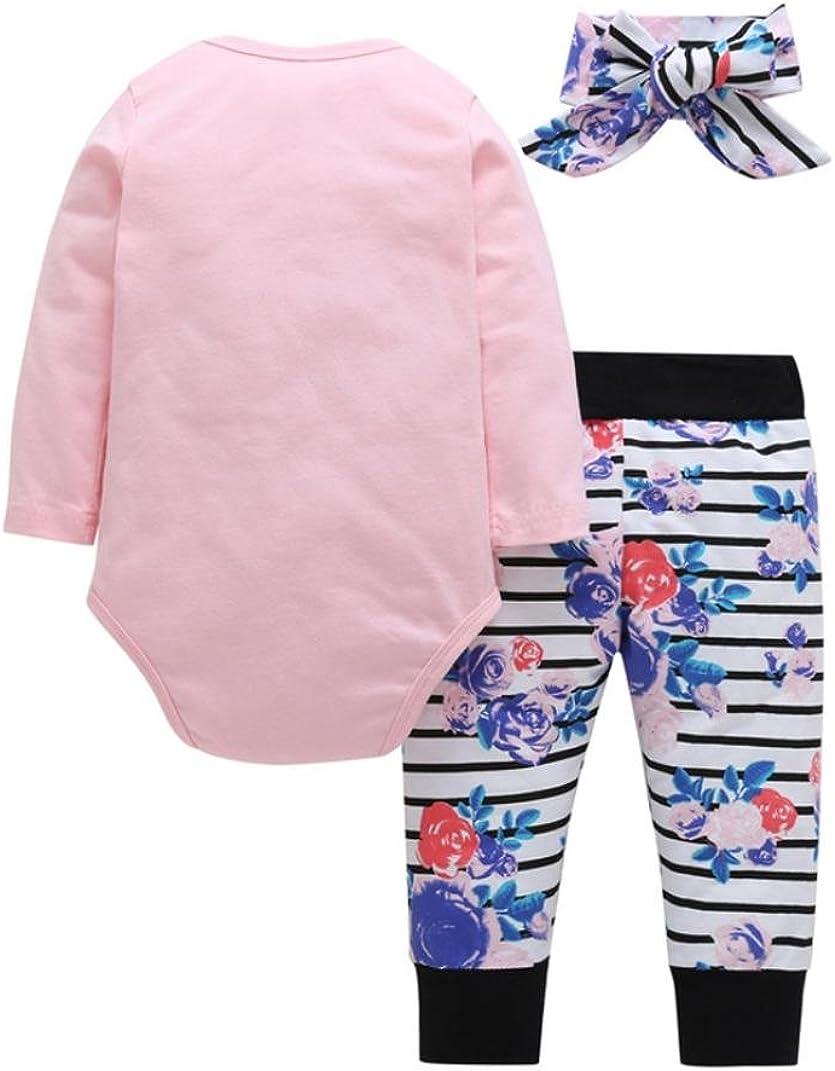 Memela Baby Clothes Sets Unisex,Infant Baby Girls Letter Print Romper Jumpsuit Floral Striped Pants Outfits Set
