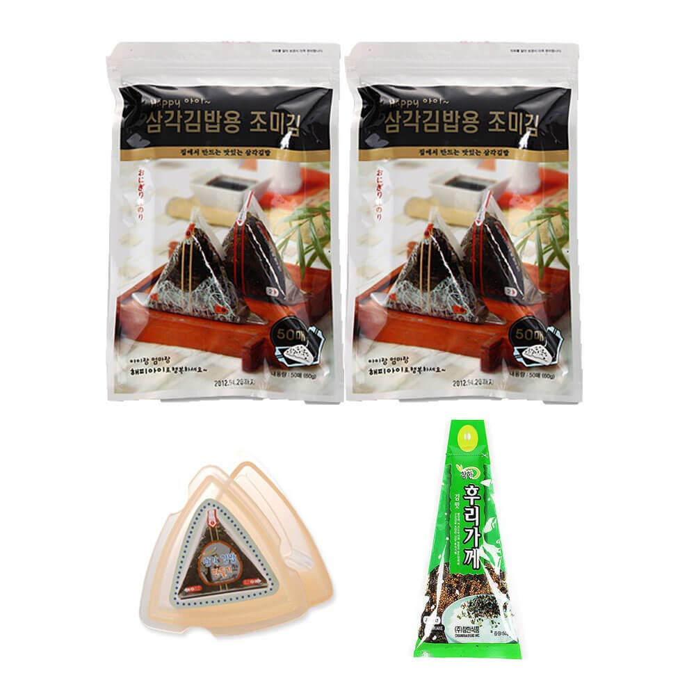 HapppyI Seaweed Wrappers for Triangular Triangle Kimbab with sticker(100sheets) (100 sheets with mold, rice seasoning)