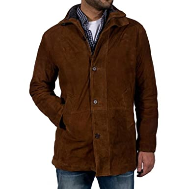 4af02ee2c1a Robert Taylor Brown Suede Genuine Leather Sheriff Walt Longmire Coat Jacket   Amazon.ca  Clothing   Accessories
