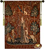 "Touch-the Lady and the Unicorn Medieval Jacquard Woven 34""w X 47""l Wall Hanging Tapestry"