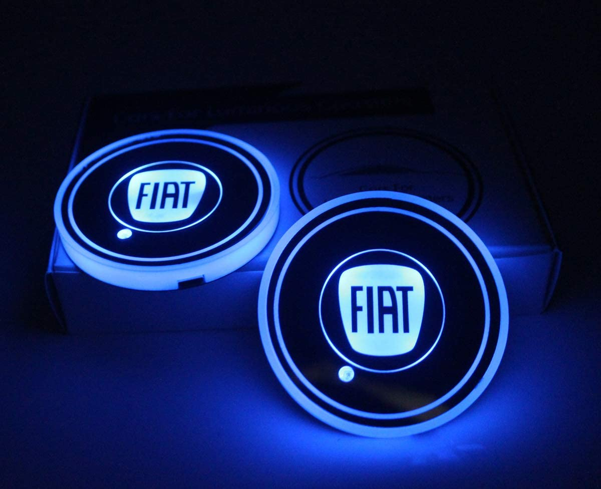 2pcs LED Car Cup Holder Lights For GMC LED Interior Atmosphere Lamp 7 Colors Changing USB Charging Mat Luminescent Cup Pad