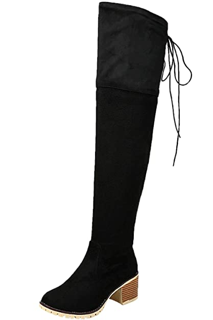 78f9c2c0f9e BIGTREE Long Boots Women Casual Lace Up Autumn Winter Block Faux Suede  Comfortable Over The Knee
