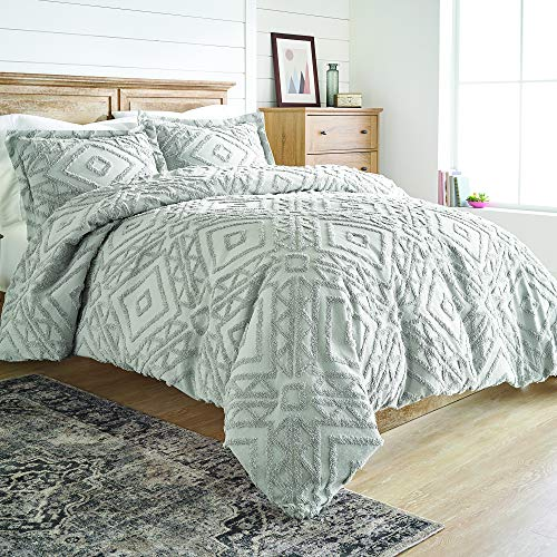 Better Homes and Gardens 3 Piece Chenille Duvet Cover Set,Full/Queen,Grey