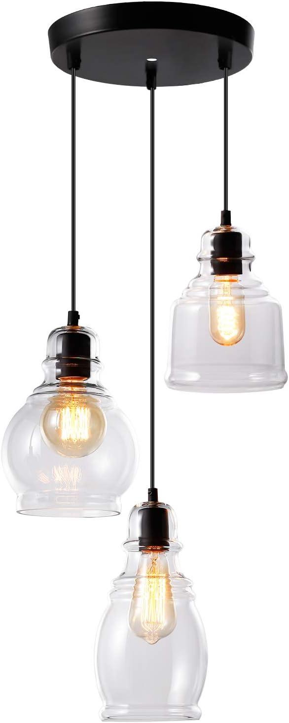 ESCENA 3 Light Glass Pendant Light, UL Listed Kitchen Island Light, Classic Hanging Lighting Fixture for Kitchen Sink, Dinning Room, Bar, Cafe