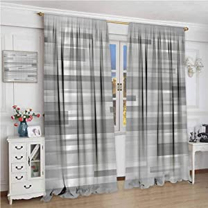 Rod Pocket Blackout Curtain W72 x L96 Inch,Blackout Draperies for Bedroom,Modern Decor,Futuristic Striped Web Forms Artistic Contemporary Graphic Fusion Artwork,Silver Grey