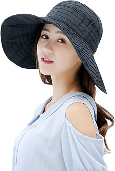 Children Girls Anti-UV Wide Brim Visor Sun Hat UV Protection Foldable Beach Cap