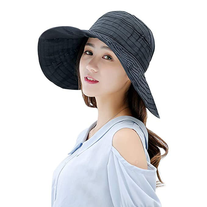 fded081e Image Unavailable. Image not available for. Color: Summer Wide Brim  Foldable Packable Sun Blocking Hat Floppy Beach Sand Pool UPF 50+ Visor