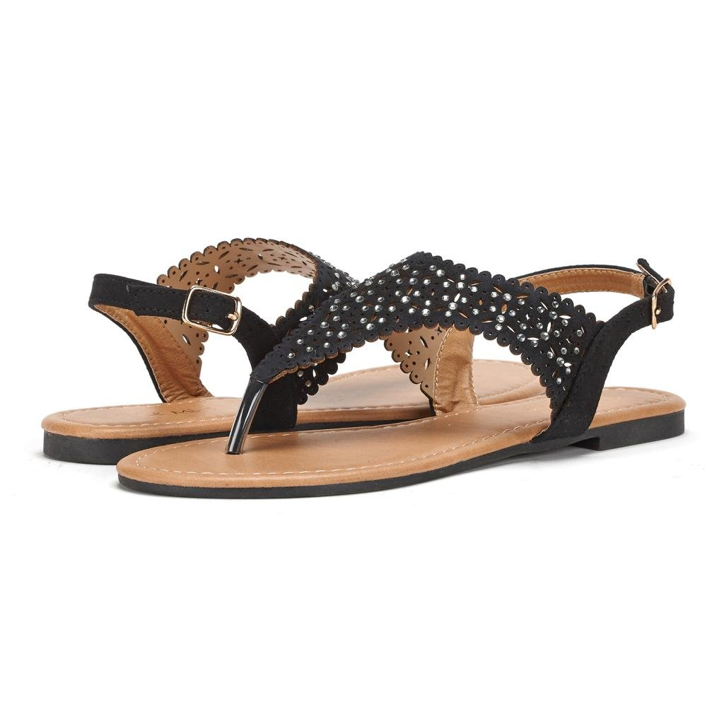 DREAM PAIRS MEDINIE Women Rhinestone Casual Wear Cut Out Flat Sandals Black Size 9