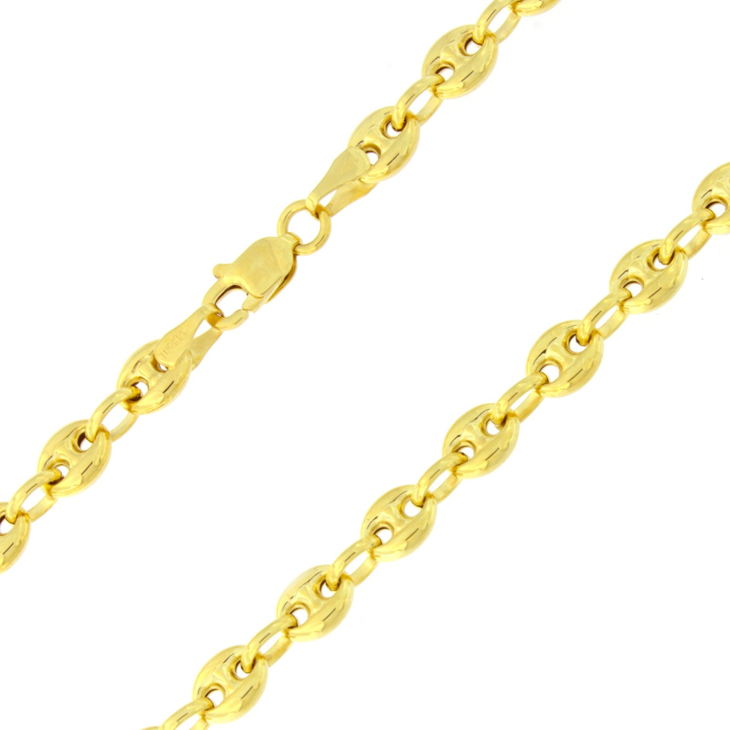14k Yellow Gold 4.7mm Puffed Mariner Chain Anklet - 10''