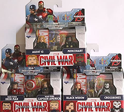 Marvel Minimates Series 67 Set of 3 Civil War 2 packs: Black Widow, Crossbones, War Torn Iron man & Captain America, Agent 13 & (Marvel Minimate Black Widow)